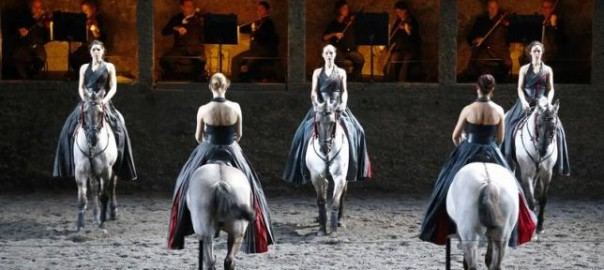 "Horses and riders perform on stage during a dress rehearsal of Wolfgang Amadeus Mozart's cantata ""Davide penitente"" in Salzburg"